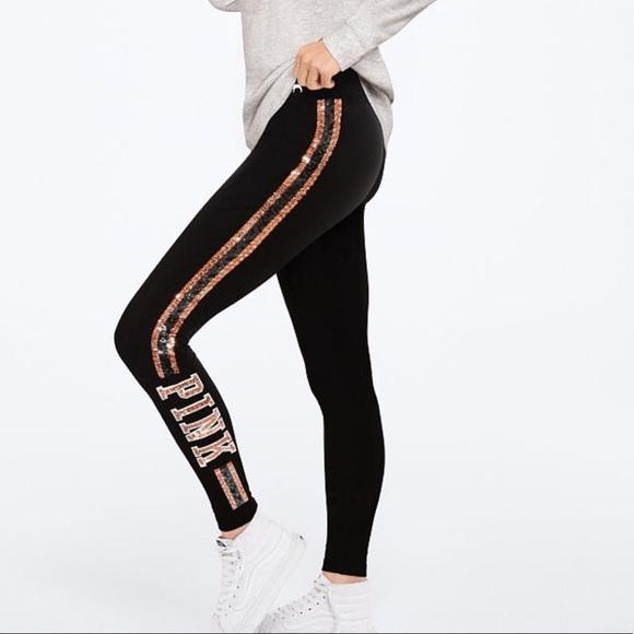 d09dfb8b04 PINK Victoria's Secret Pants | New Vs Pink Bling Yoga Leggings Small ...